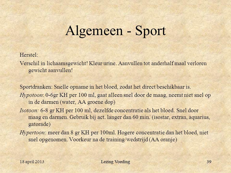 39 Algemeen - Sport Herstel: Verschil in lichaamsgewicht.
