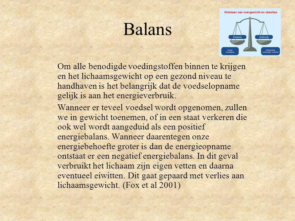 Balans Om alle benodigde voedingstoffen binnen te krijgen en het lichaamsgewicht op een gezond niveau te handhaven is het belangrijk dat de voedselopname gelijk is aan het energieverbruik.