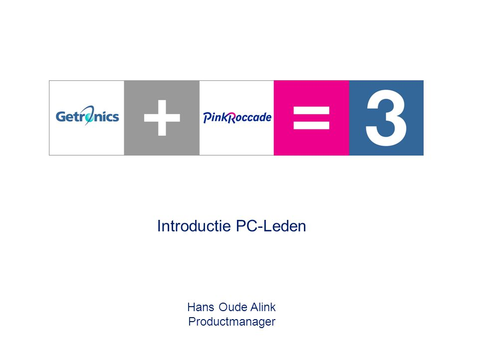 0 – Introductie PC-Leden – 28 juni 2005 Introductie PC-Leden Hans Oude Alink Productmanager