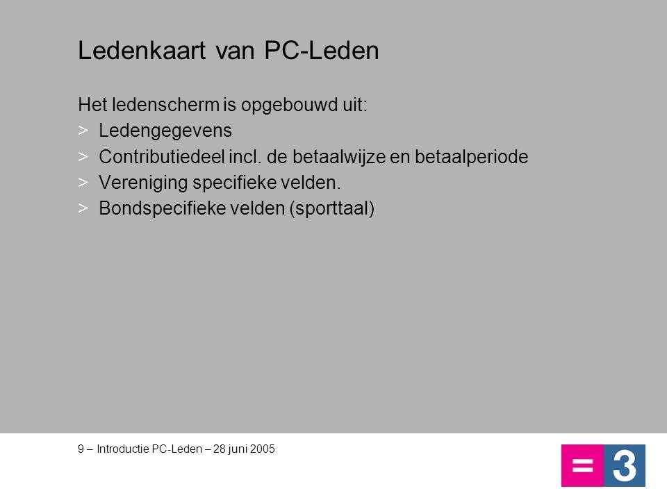 9 – Introductie PC-Leden – 28 juni 2005 Ledenkaart van PC-Leden Het ledenscherm is opgebouwd uit: >Ledengegevens >Contributiedeel incl. de betaalwijze