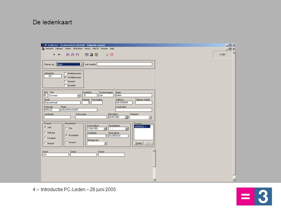 4 – Introductie PC-Leden – 28 juni 2005 De ledenkaart
