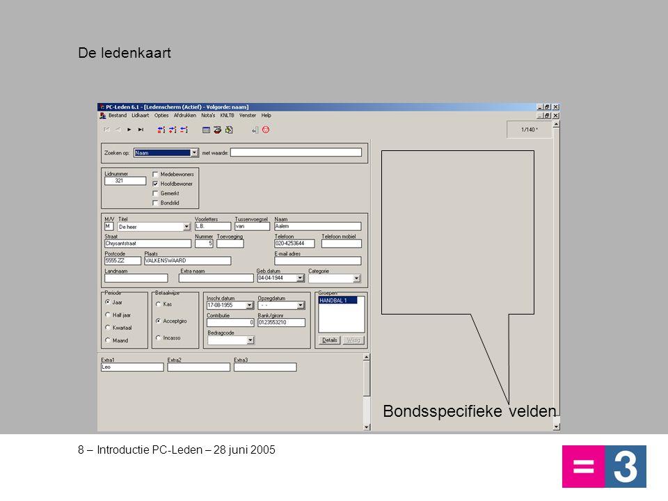 8 – Introductie PC-Leden – 28 juni 2005 De ledenkaart Bondsspecifieke velden
