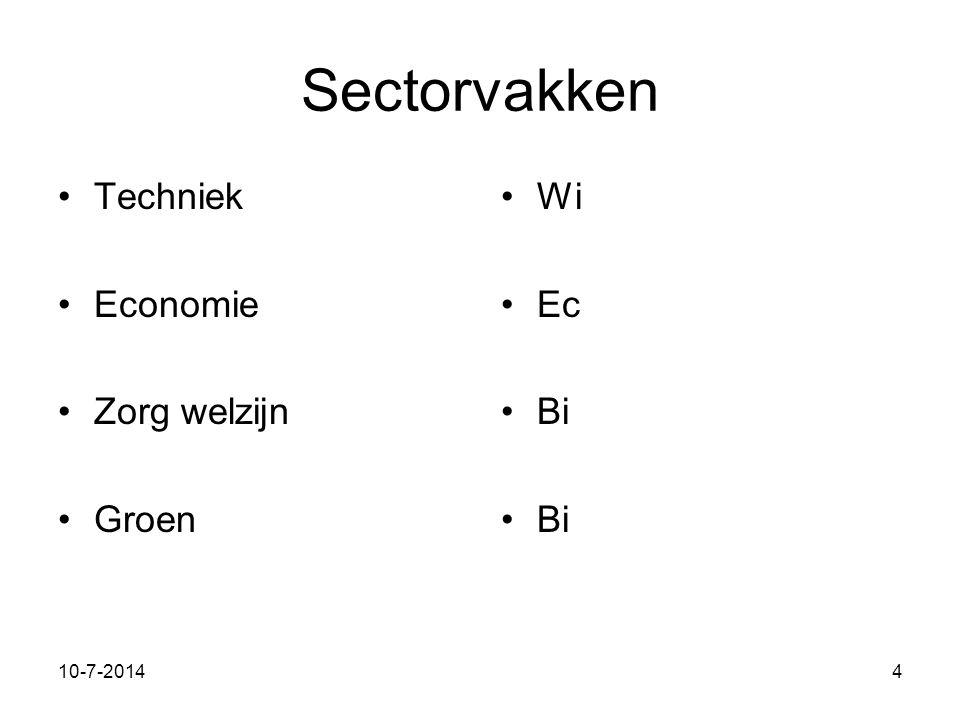 11-7-20144 Sectorvakken Techniek Economie Zorg welzijn Groen Wi Ec Bi