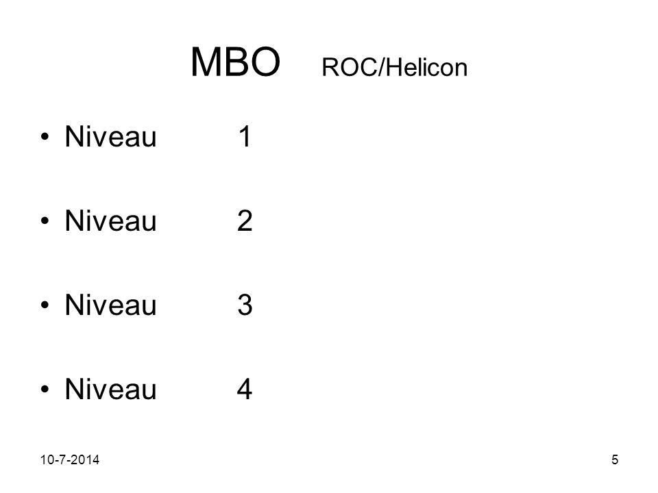 11-7-20145 MBO ROC/Helicon Niveau 1 Niveau2 Niveau3 Niveau4