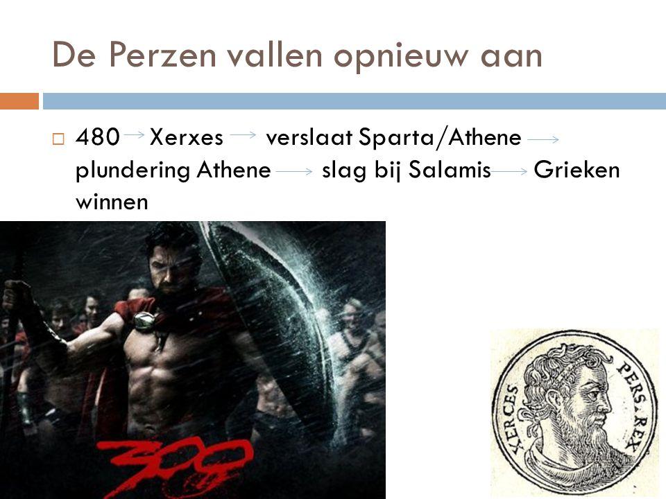 De Perzen vallen opnieuw aan  480 Xerxes verslaat Sparta/Athene plundering Athene slag bij Salamis Grieken winnen