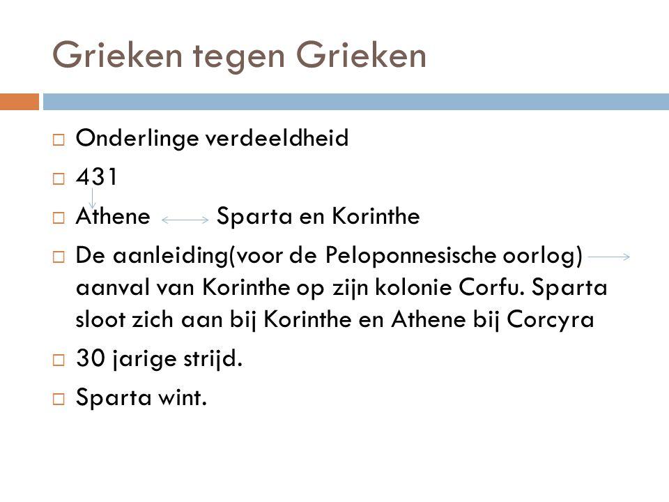 Grieken tegen Grieken  Onderlinge verdeeldheid  431  Athene Sparta en Korinthe  De aanleiding(voor de Peloponnesische oorlog) aanval van Korinthe