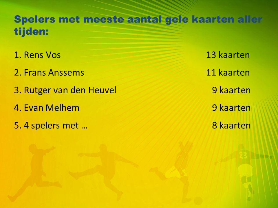 Spelers met meeste aantal gele kaarten aller tijden: 1. Rens Vos 13 kaarten 2. Frans Anssems 11 kaarten 3. Rutger van den Heuvel9 kaarten 4. Evan Melh