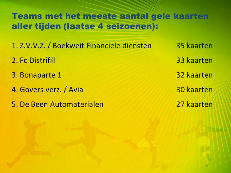 Teams met het meeste aantal gele kaarten aller tijden (laatse 4 seizoenen): 1. Z.V.V.Z. / Boekweit Financiele diensten35 kaarten 2. Fc Distrifill33 ka