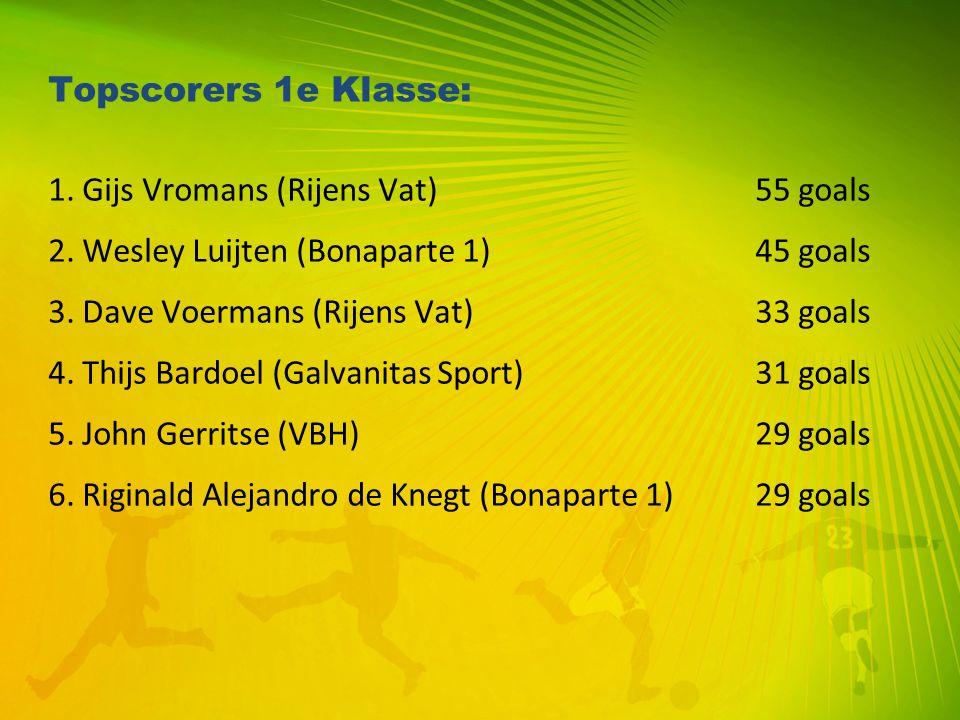 Topscorers 1e Klasse: 1. Gijs Vromans (Rijens Vat) 55 goals 2. Wesley Luijten (Bonaparte 1) 45 goals 3. Dave Voermans (Rijens Vat) 33 goals 4. Thijs B