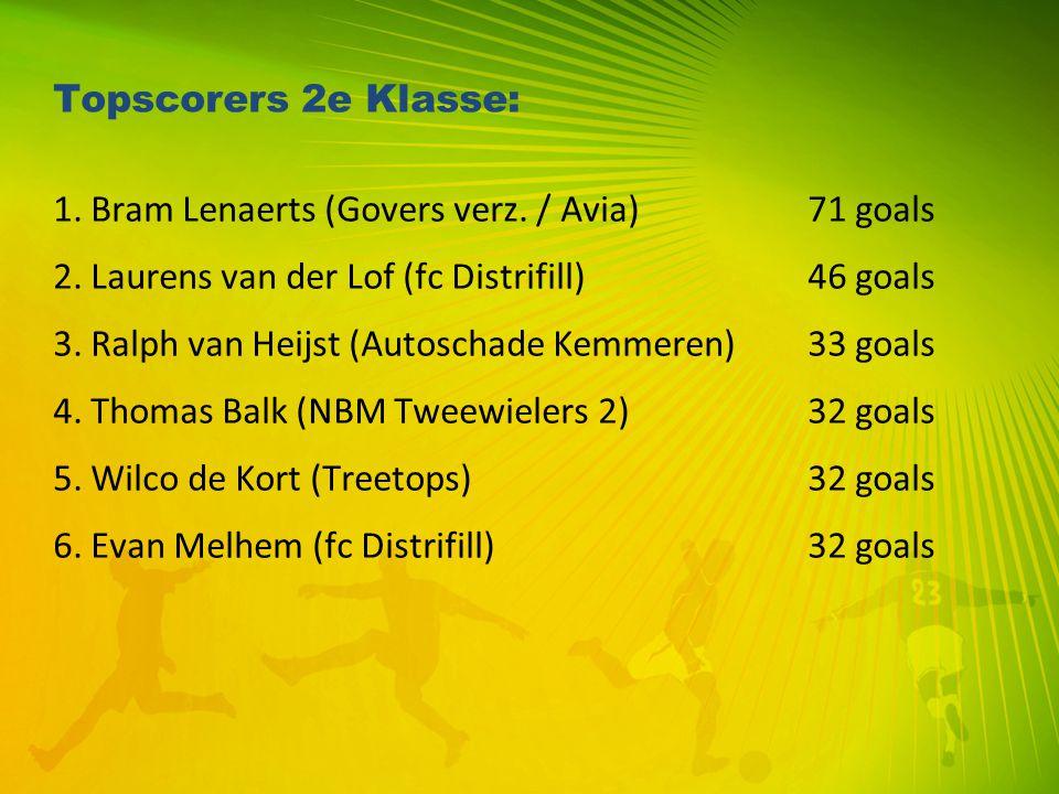 Topscorers 2e Klasse: 1. Bram Lenaerts (Govers verz. / Avia)71 goals 2. Laurens van der Lof (fc Distrifill) 46 goals 3. Ralph van Heijst (Autoschade K