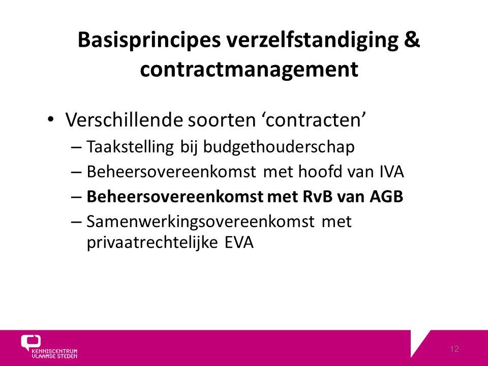 12 Verschillende soorten 'contracten' – Taakstelling bij budgethouderschap – Beheersovereenkomst met hoofd van IVA – Beheersovereenkomst met RvB van AGB – Samenwerkingsovereenkomst met privaatrechtelijke EVA Basisprincipes verzelfstandiging & contractmanagement