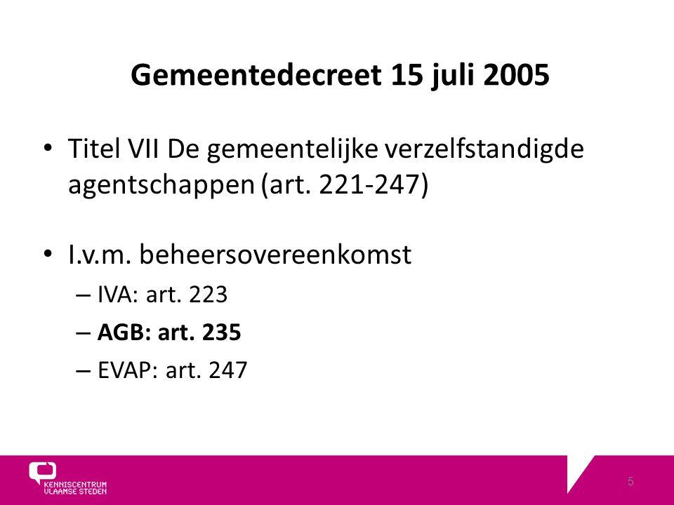 5 Gemeentedecreet 15 juli 2005 Titel VII De gemeentelijke verzelfstandigde agentschappen (art.