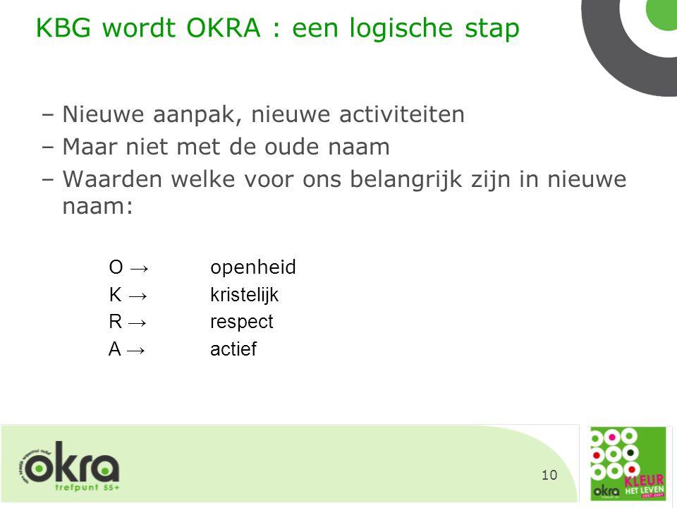 10 KBG wordt OKRA : een logische stap –Nieuwe aanpak, nieuwe activiteiten –Maar niet met de oude naam –Waarden welke voor ons belangrijk zijn in nieuw