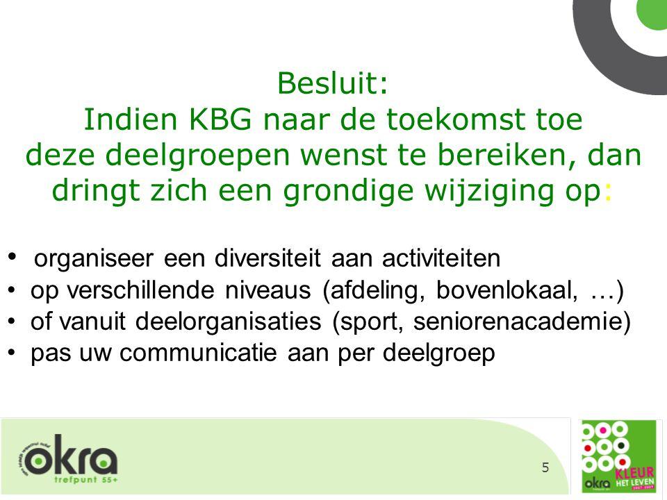 5 Besluit: Indien KBG naar de toekomst toe deze deelgroepen wenst te bereiken, dan dringt zich een grondige wijziging op: organiseer een diversiteit a