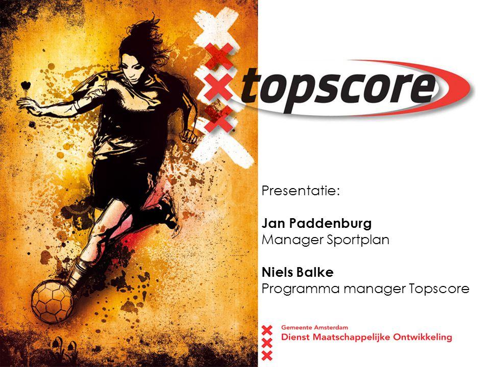 Presentatie: Jan Paddenburg Manager Sportplan Niels Balke Programma manager Topscore