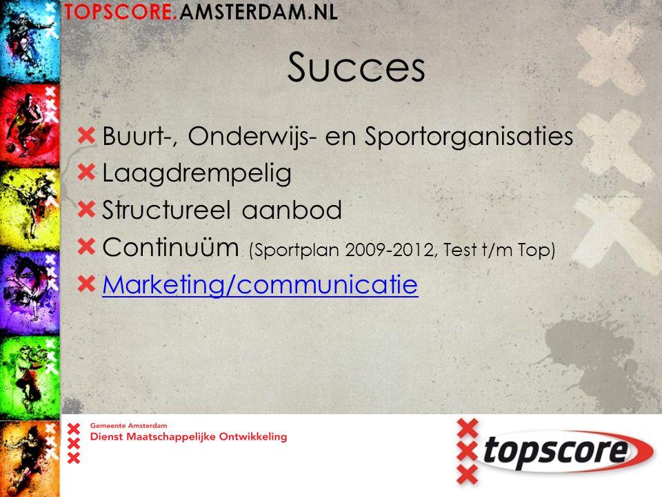 Succes Buurt-, Onderwijs- en Sportorganisaties Laagdrempelig Structureel aanbod Continuüm (Sportplan 2009-2012, Test t/m Top) Marketing/communicatie
