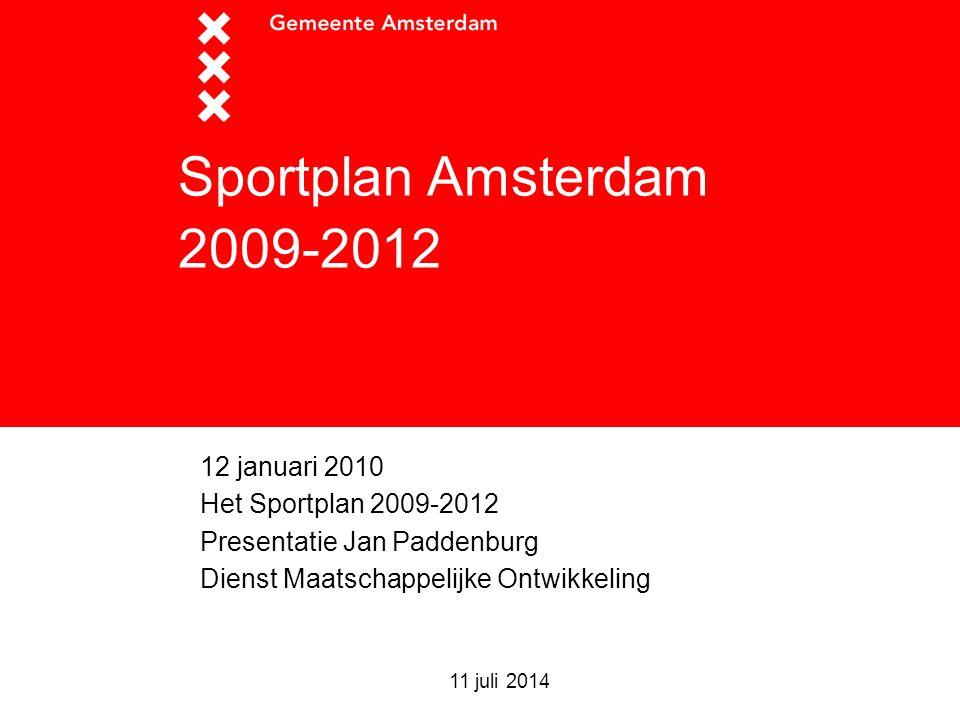 11 juli 2014 Sportplan Amsterdam 2009-2012 12 januari 2010 Het Sportplan 2009-2012 Presentatie Jan Paddenburg Dienst Maatschappelijke Ontwikkeling