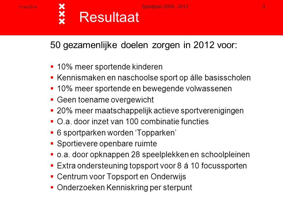 11 juli 2014 Sportplan 2009 - 2012 3 Resultaat 50 gezamenlijke doelen zorgen in 2012 voor:  10% meer sportende kinderen  Kennismaken en naschoolse s