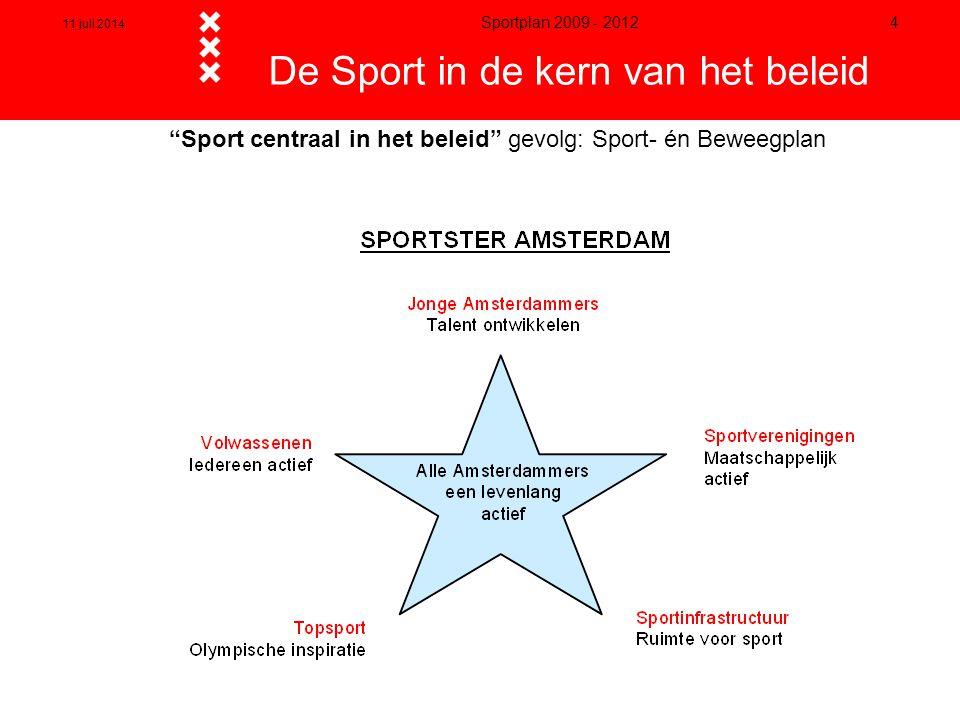 """11 juli 2014 Sportplan 2009 - 2012 4 """"Sport centraal in het beleid"""" gevolg: Sport- én Beweegplan De Sport in de kern van het beleid"""