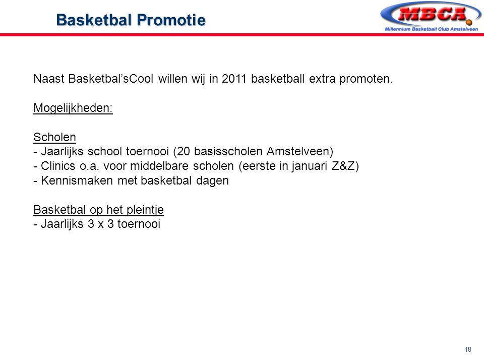 18 Basketbal Promotie Basketbal Promotie Naast Basketbal'sCool willen wij in 2011 basketball extra promoten. Mogelijkheden: Scholen - Jaarlijks school