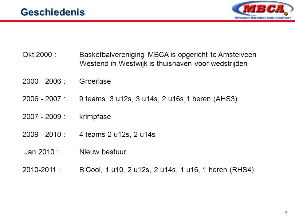 5 Geschiedenis Geschiedenis Okt 2000 : Basketbalvereniging MBCA is opgericht te Amstelveen Westend in Westwijk is thuishaven voor wedstrijden 2000 - 2
