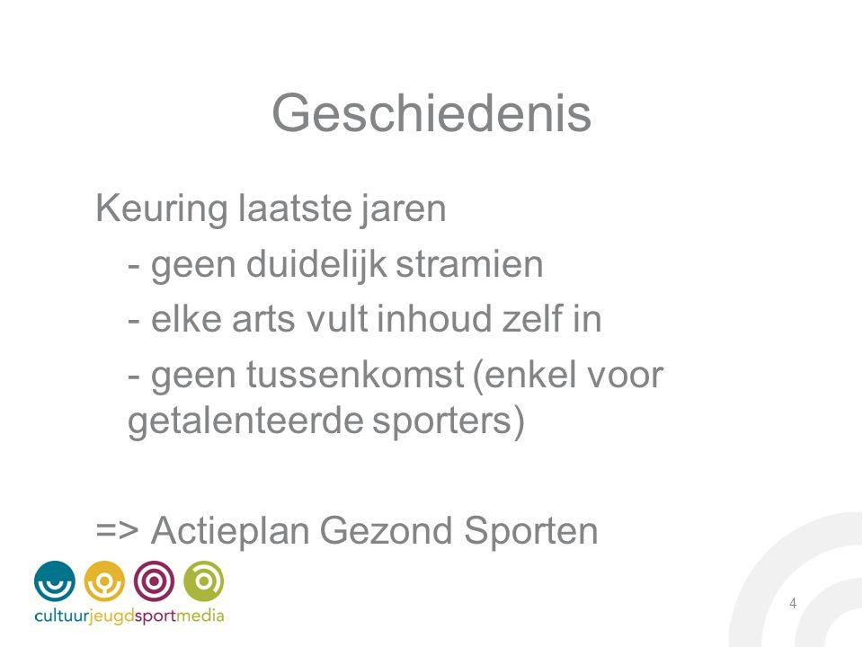 Actieplan: beleidscontext Vlaams Regeerakkoord – 15 juli 2009 'Vitaal belang van sport en beweging voor gezonde samenleving' Beleidsbrief sport 2010-2011 'Globaal plan in kader van sportletselpreventie' VIA Warme Samenleving – Gezonde sportbeoefening Intentieverklaring ministers Vandeurzen & Muyters 25/10/2010: 'Tegen 2015 neemt het relatief aantal en de ernst van sportletsels af ten gevolge van het sensibiliseren van het brede publiek omtrent sportletsels' Juni 2012: Vlaamse Regering keurt Actieplan Gezond Sporten goed – uitrol: 2013