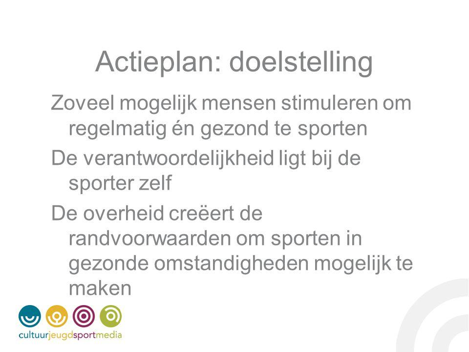 Actieplan: doelstelling Zoveel mogelijk mensen stimuleren om regelmatig én gezond te sporten De verantwoordelijkheid ligt bij de sporter zelf De overheid creëert de randvoorwaarden om sporten in gezonde omstandigheden mogelijk te maken