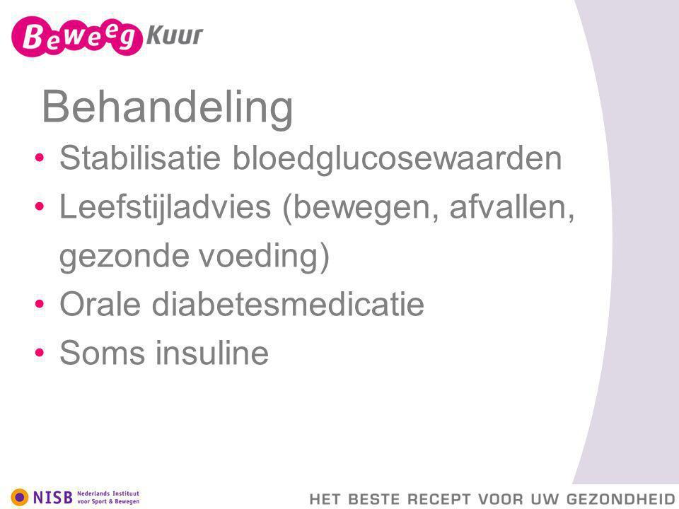 Behandeling Stabilisatie bloedglucosewaarden Leefstijladvies (bewegen, afvallen, gezonde voeding) Orale diabetesmedicatie Soms insuline