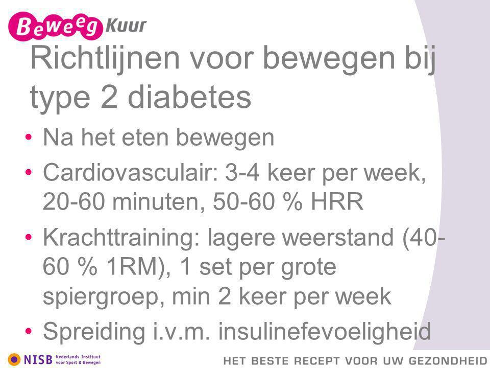 Richtlijnen voor bewegen bij type 2 diabetes Na het eten bewegen Cardiovasculair: 3-4 keer per week, 20-60 minuten, 50-60 % HRR Krachttraining: lagere