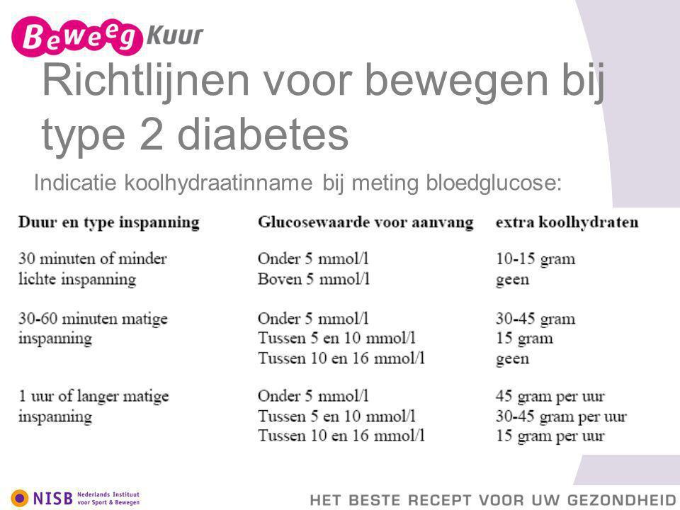 Richtlijnen voor bewegen bij type 2 diabetes Indicatie koolhydraatinname bij meting bloedglucose: