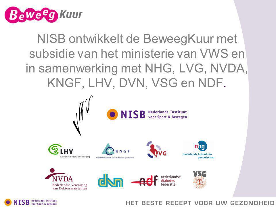 NISB ontwikkelt de BeweegKuur met subsidie van het ministerie van VWS en in samenwerking met NHG, LVG, NVDA, KNGF, LHV, DVN, VSG en NDF.