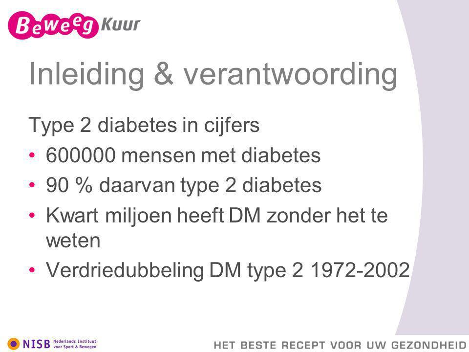 Inleiding & verantwoording Type 2 diabetes in cijfers 600000 mensen met diabetes 90 % daarvan type 2 diabetes Kwart miljoen heeft DM zonder het te wet