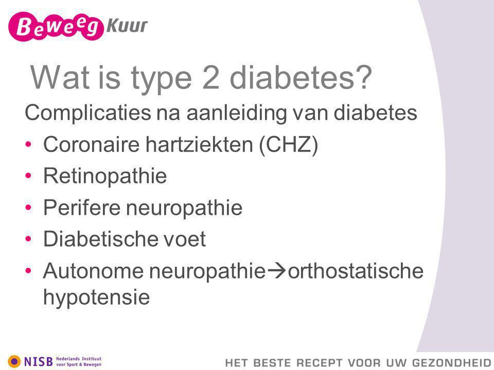Wat is type 2 diabetes? Complicaties na aanleiding van diabetes Coronaire hartziekten (CHZ) Retinopathie Perifere neuropathie Diabetische voet Autonom