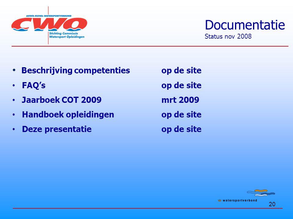20 Beschrijving competentiesop de site FAQ'sop de site Jaarboek COT 2009mrt 2009 Handboek opleidingenop de site Deze presentatieop de site Documentatie Status nov 2008