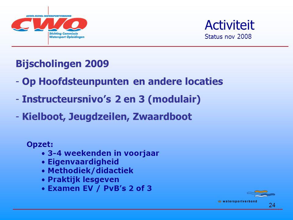 24 Activiteit Status nov 2008 Bijscholingen 2009 - Op Hoofdsteunpunten en andere locaties - Instructeursnivo's 2 en 3 (modulair) - Kielboot, Jeugdzeilen, Zwaardboot Opzet: 3-4 weekenden in voorjaar Eigenvaardigheid Methodiek/didactiek Praktijk lesgeven Examen EV / PvB's 2 of 3