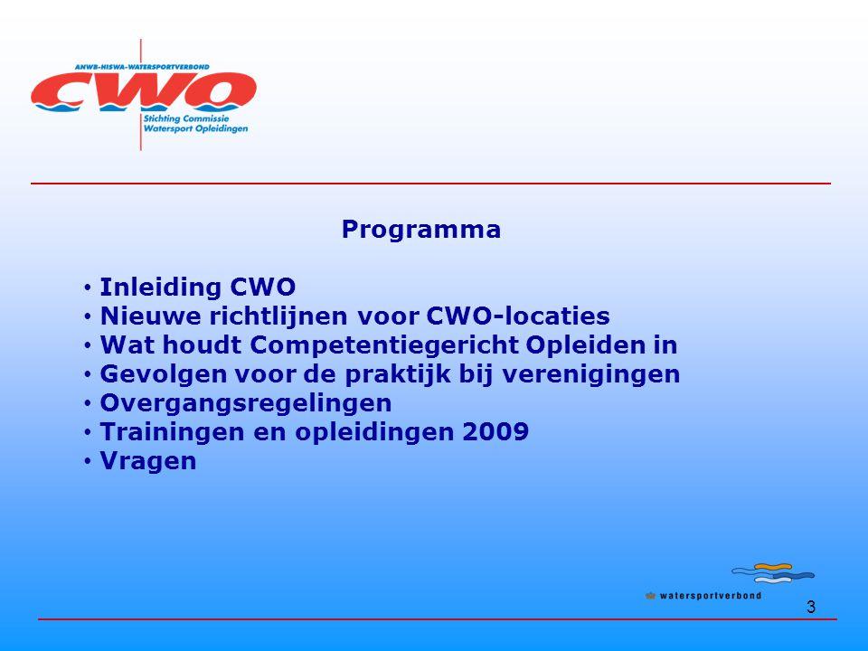3 Programma Inleiding CWO Nieuwe richtlijnen voor CWO-locaties Wat houdt Competentiegericht Opleiden in Gevolgen voor de praktijk bij verenigingen Overgangsregelingen Trainingen en opleidingen 2009 Vragen