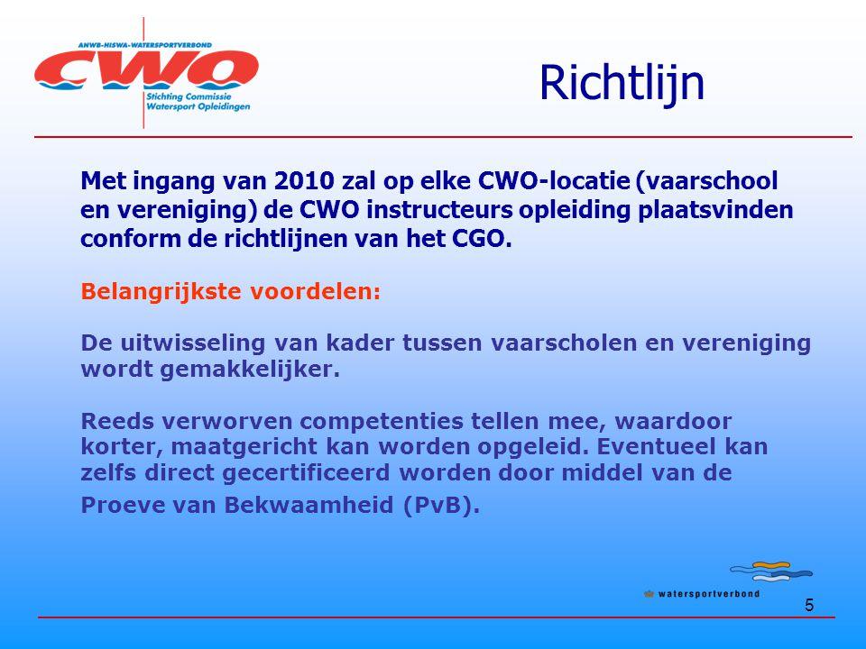 6 Richtlijn Belangrijkste consequentie: CWO-lessen worden alleen nog gegeven door gediplomeerd kader (instructeurs), concreet: Niveau 3 instructeur aanwezig tijdens instructie Met ingang van 2010 geen BG'ers meer nodig Met ingang van 2010 zullen alle CWO-instructeurs gecertificeerd zijn op basis van CGO