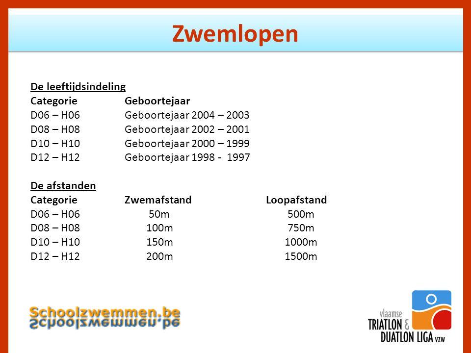 Zwemlopen De leeftijdsindeling CategorieGeboortejaar D06 – H06Geboortejaar 2004 – 2003 D08 – H08Geboortejaar 2002 – 2001 D10 – H10Geboortejaar 2000 – 1999 D12 – H12Geboortejaar 1998 - 1997 De afstanden CategorieZwemafstandLoopafstand D06 – H06 50m 500m D08 – H08 100m 750m D10 – H10 150m 1000m D12 – H12 200m 1500m