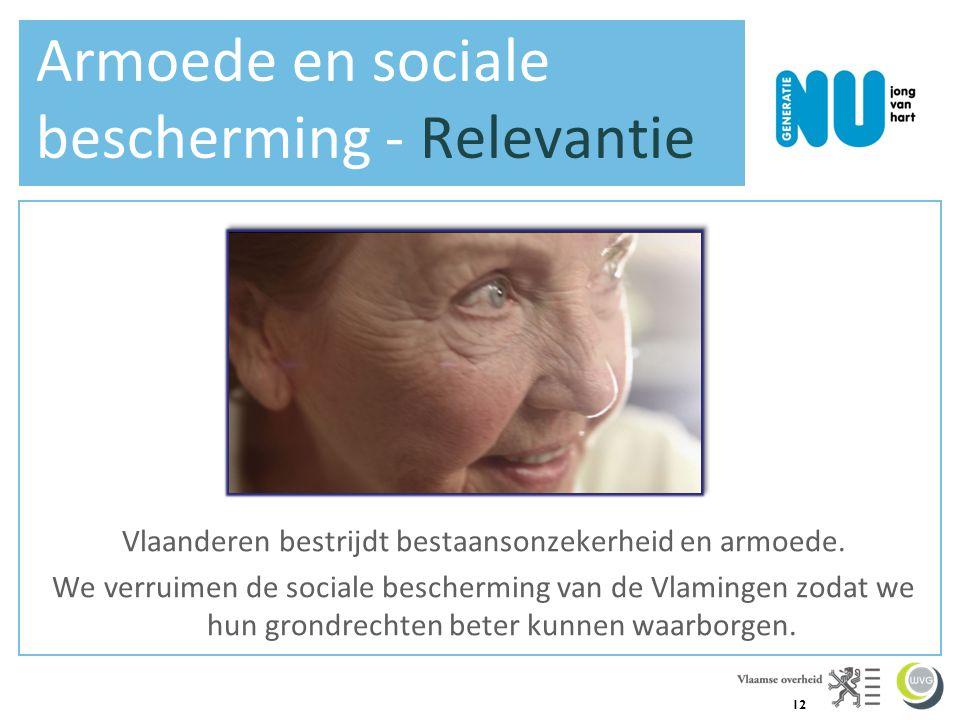 12 Armoede en sociale bescherming - Relevantie Vlaanderen bestrijdt bestaansonzekerheid en armoede. We verruimen de sociale bescherming van de Vlaming
