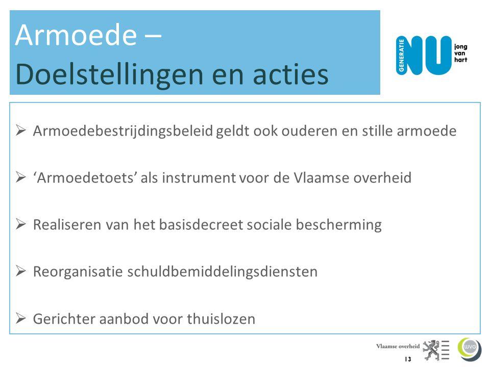 13 Armoede – Doelstellingen en acties  Armoedebestrijdingsbeleid geldt ook ouderen en stille armoede  'Armoedetoets' als instrument voor de Vlaamse