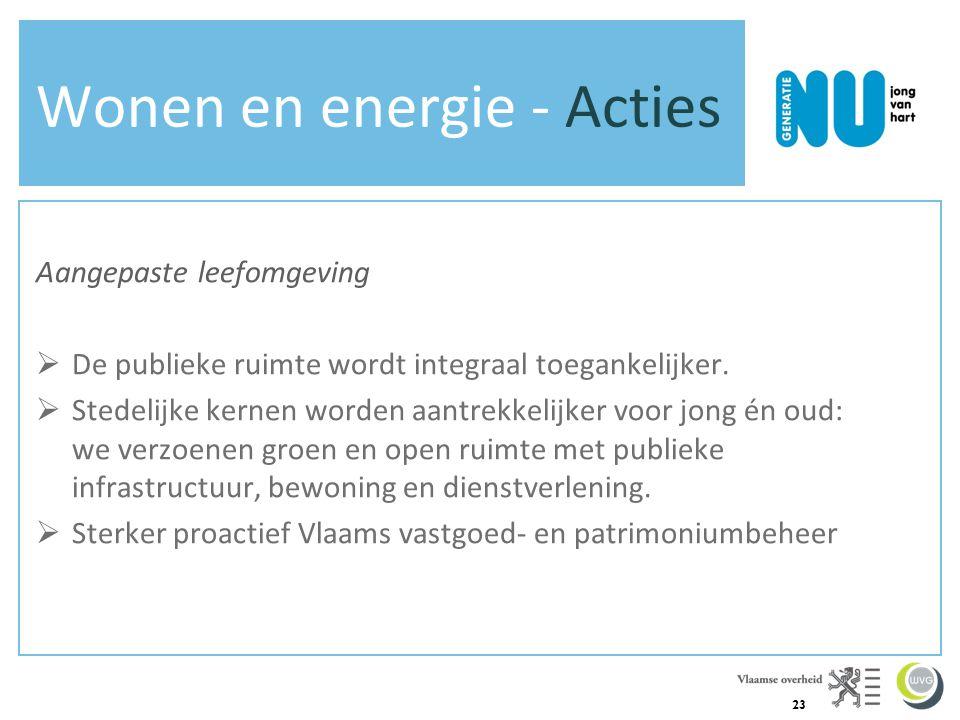 23 Wonen en energie - Acties Aangepaste leefomgeving  De publieke ruimte wordt integraal toegankelijker.  Stedelijke kernen worden aantrekkelijker v