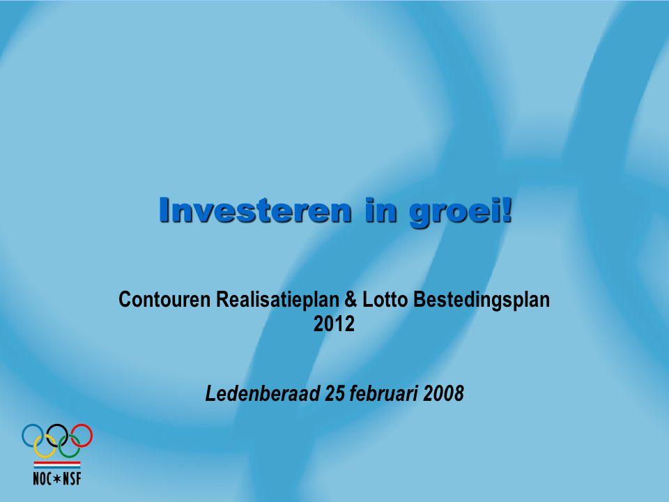 Investeren in groei! Contouren Realisatieplan & Lotto Bestedingsplan 2012 Ledenberaad 25 februari 2008