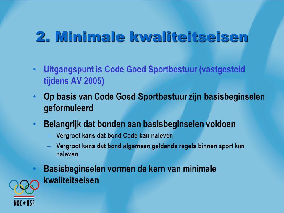 2. Minimale kwaliteitseisen Uitgangspunt is Code Goed Sportbestuur (vastgesteld tijdens AV 2005) Op basis van Code Goed Sportbestuur zijn basisbeginse