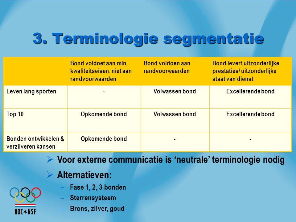 3. Terminologie segmentatie  Voor externe communicatie is 'neutrale' terminologie nodig  Alternatieven: – Fase 1, 2, 3 bonden – Sterrensysteem – Bro