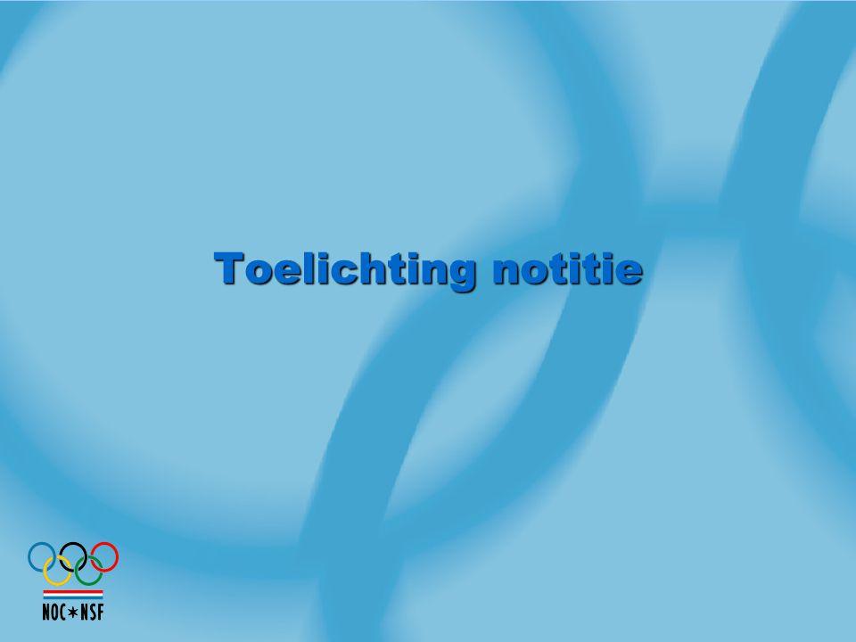 Inhoud notitie Toelichting keuze voor segmentatie bij uitvoering Sportagenda en verdeling Lottogelden Uitwerking randvoorwaarden en kwaliteitseisen (waarop segmentatie gebaseerd wordt) Vertaling segmentatie aanpak naar Lotto Bestedingsplan Contouren Lotto Bestedingsplan