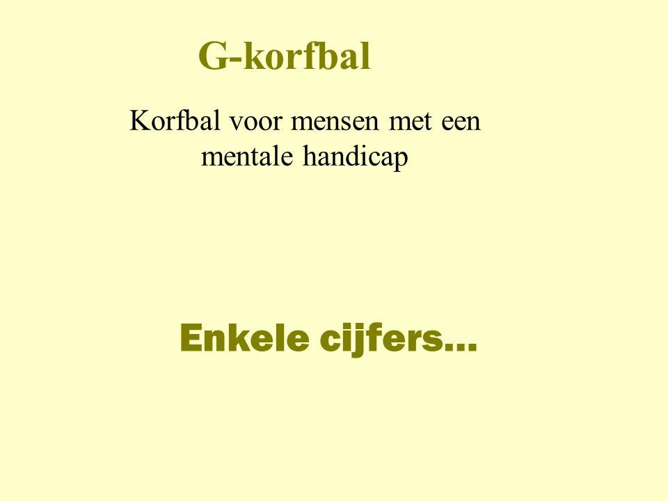 G-korfbal Korfbal voor mensen met een mentale handicap Enkele cijfers…