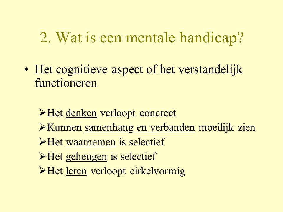 2. Wat is een mentale handicap? Het cognitieve aspect of het verstandelijk functioneren  Het denken verloopt concreet  Kunnen samenhang en verbanden
