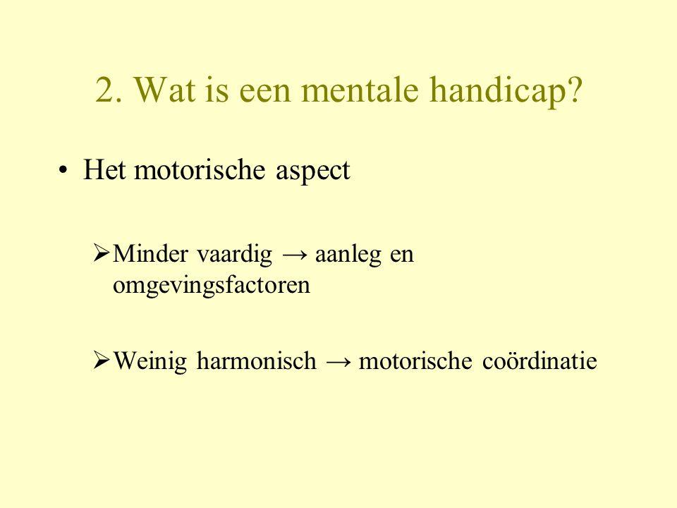 2. Wat is een mentale handicap? Het motorische aspect  Minder vaardig → aanleg en omgevingsfactoren  Weinig harmonisch → motorische coördinatie