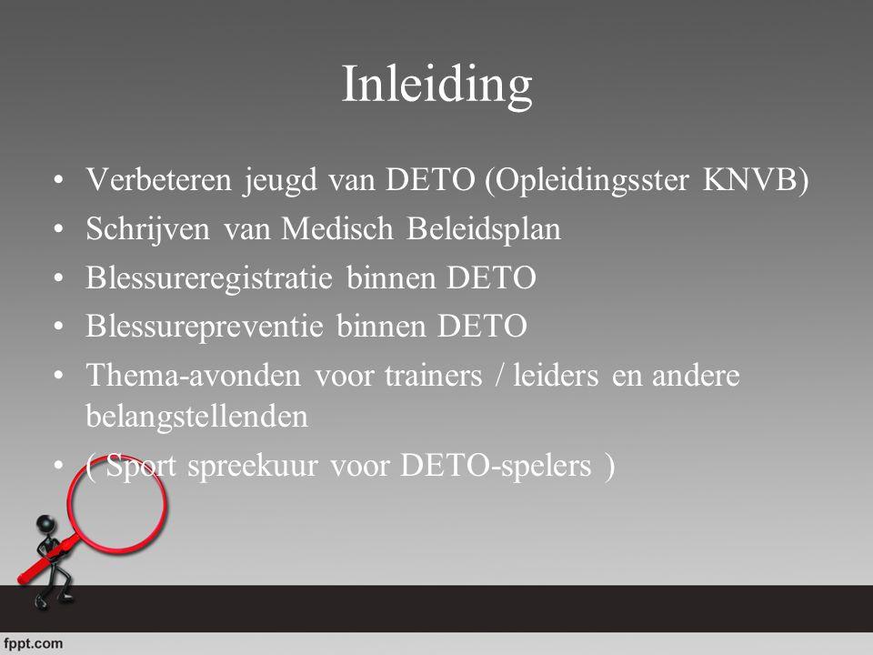 Inleiding Verbeteren jeugd van DETO (Opleidingsster KNVB) Schrijven van Medisch Beleidsplan Blessureregistratie binnen DETO Blessurepreventie binnen D
