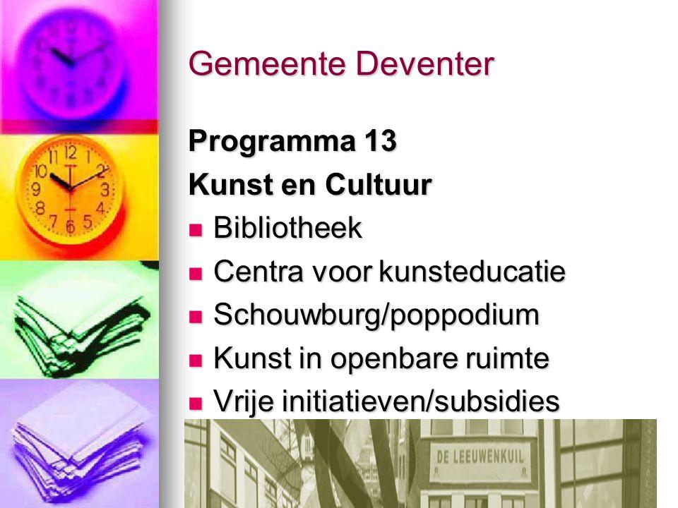 Gemeente Deventer Programma 13 Kunst en Cultuur Bibliotheek Bibliotheek Centra voor kunsteducatie Centra voor kunsteducatie Schouwburg/poppodium Schou